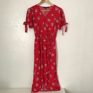 One Clothing front wrap red floral midi dress